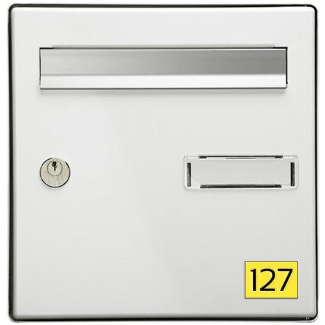 Numéro pour boite aux lettres personnalisable rectangle petit format (50x35mm) jaune chiffres noirs