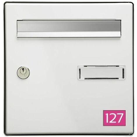Numéro pour boite aux lettres personnalisable rectangle petit format (50x35mm) rose chiffres blancs