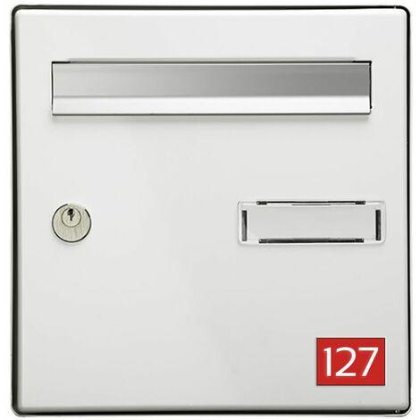 Numéro pour boite aux lettres personnalisable rectangle petit format (50x35mm) rouge chiffres blancs