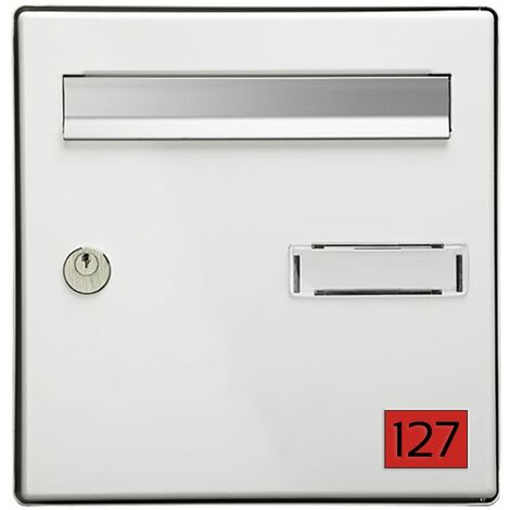 Numéro pour boite aux lettres personnalisable rectangle petit format (50x35mm) rouge chiffres noirs