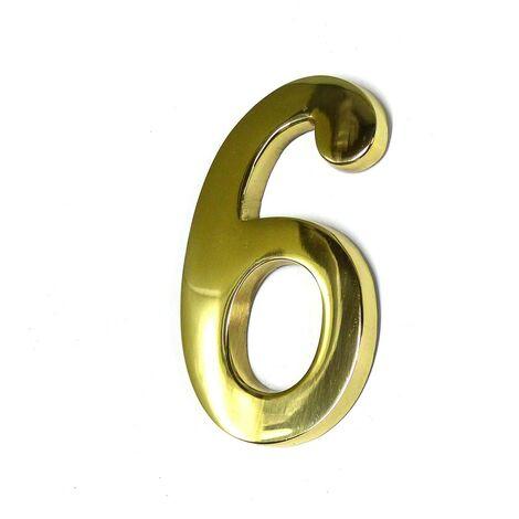 NUMEROS 6 LATON PULIDO 10CM FIJACION INVISIBLE