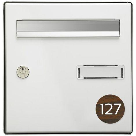 Numéro pour boite aux lettres personnalisable format rond diamètre 60 mm couleur effet bois foncé chiffres blancs