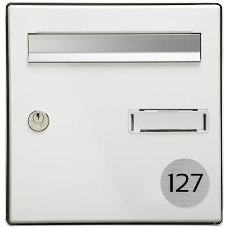 Numéro pour boite aux lettres personnalisable format rond diamètre 60 mm couleur gris argent chiffres noirs