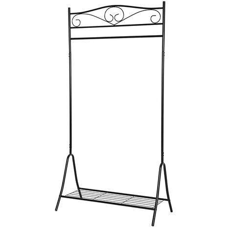 Nuovo Stand Appendiabiti Stender Attaccapanni di Ferro Stile Anticato Classico Nero/Bianco