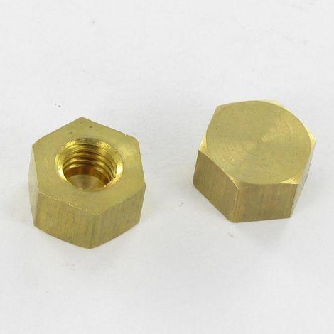 NUT HEXAGONAL CAP 8X14 INNER THREAD M8 BLIND HOLE BRASS | Unitary