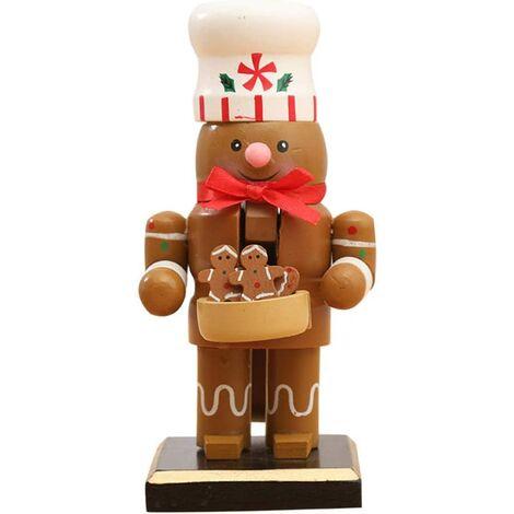 "main image of ""Nutcracker Christmas Decorations, Wooden Nutcracker Ornament Nutcracker Action Figures Toy with Santa Snowman Penguin Head Puppet Desk Decor, Nutcracker"""