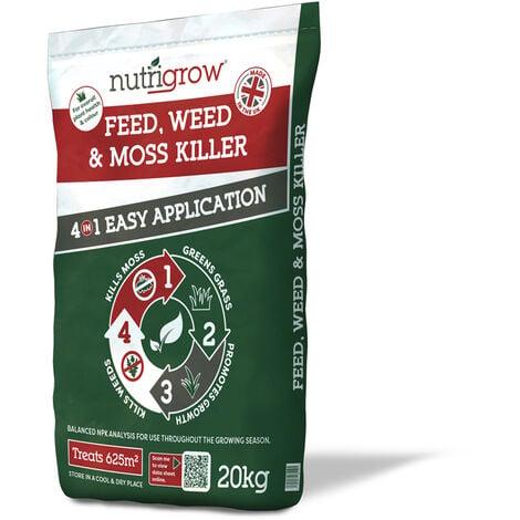 Nutrigrow Weed, Feed & Moss Killer 4in1 Lawn Fertiliser - 20kg