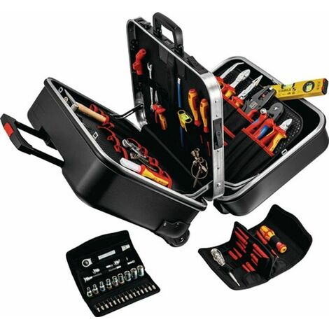 NW-KNIPEX Werkzeugsortiment (63-teilig / im Hartschalenkoffer mit Fahrgestell) - 00 21 41