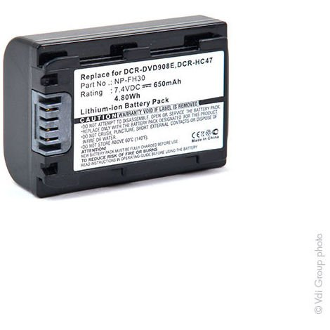 NX - Batería cámara de fotos y cámara de video 7.4V 650mAh - NP-FH40 ; NP-FH30 ;