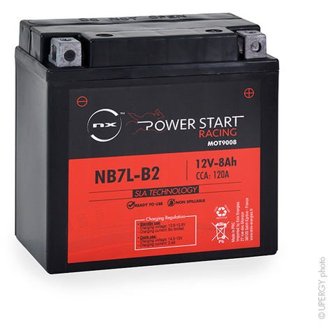 NX - Batería moto YB7L-B2 / NB7L-B2 / 12N7-3B / 12N7D-3B AGM 12V 8Ah