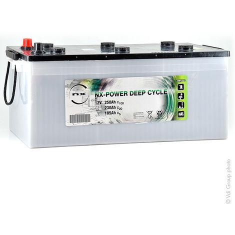 NX - Batería plomo abierta NX Power Deep Cycle 12V 250Ah C100 - C5: 12V 185Ah Auto