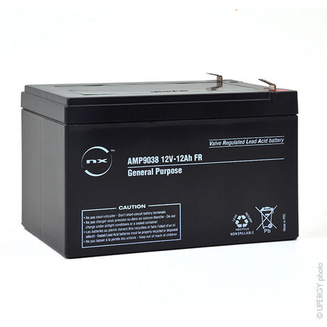 NX - Batería plomo AGM NX 12-12 General Purpose FR 12V 12Ah F6.35