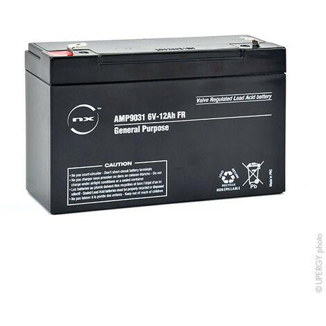 NX - Batterie plomb AGM NX 12-6 General Purpose FR 6V 12Ah F6.35