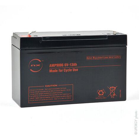NX - Batterie plomb AGM NX 13-6 Cyclic 6V 13Ah F6.35