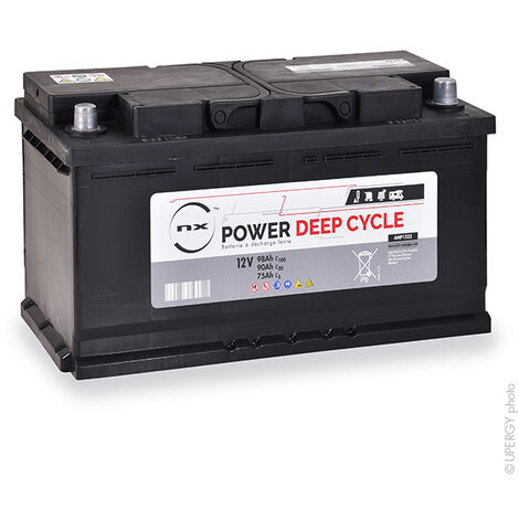 NX - Batterie plomb ouvert NX Power Deep Cycle 12V 90Ah Auto