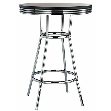 Ny Retro Tall Breakfast Poseur Table And Stool Set Black Black