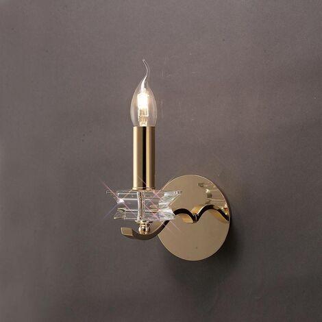 Nydia aplique con interruptor 1 bombilla dorada / cristal