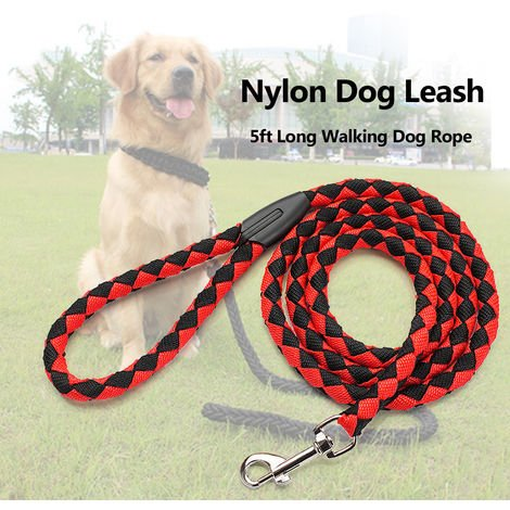 Nylon Dog Leash 5ft Long Walking Dog Rope Metal Clasp Dog Chain Traction Rope for Medium Dog Training Walking Outside