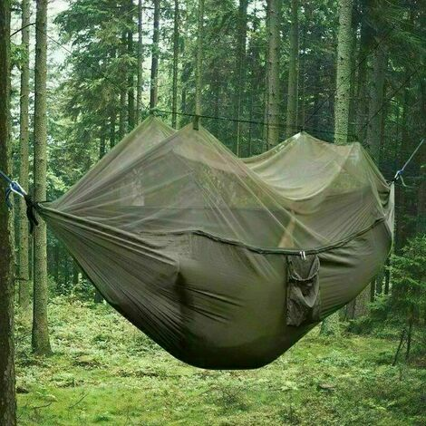 Nylon Swinging Hammock Double Person Outdoor Camping Tent Travel Hanging Bed - Army Green