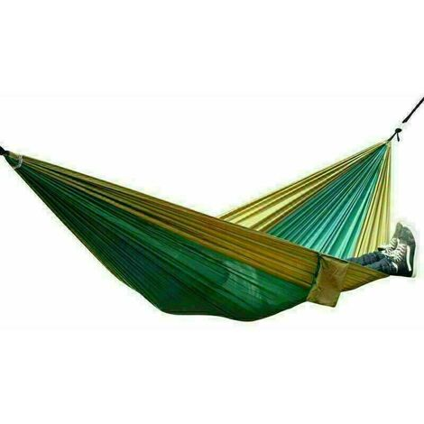 Nylon Swinging Hammock Double Person Outdoor Camping Tent Travel Hanging Bed - Green and Yellow
