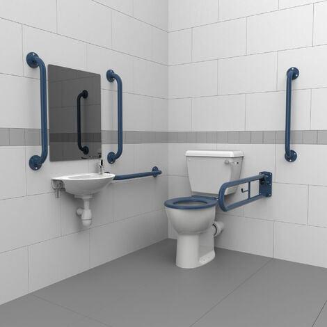 Nymas Close Coupled Disabled Toilet Doc M Pack White - Dark Blue Grab Rails