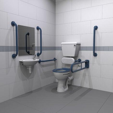 Nymas Low Level Disabled Toilet Doc M Pack White - Dark Blue Grab Rails