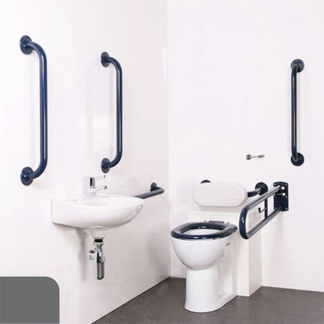 Nymas Nyma PRO Back to Wall Doc M Pack Concealed Fixings White - 5 x Dark Grey Grab Rails