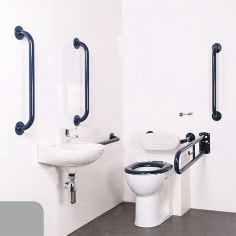 Nymas Nyma PRO Back to Wall Doc M Pack Concealed Fixings White - 5 x Grey Grab Rails