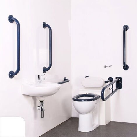 Nymas Nyma PRO Back to Wall Doc M Pack Concealed Fixings White - 5 x White Grab Rails