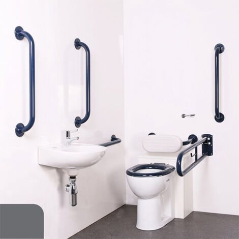 Nymas Nyma PRO Back to Wall Doc M Pack Exposed Fixings White - 5 x Dark Grey Grab Rails