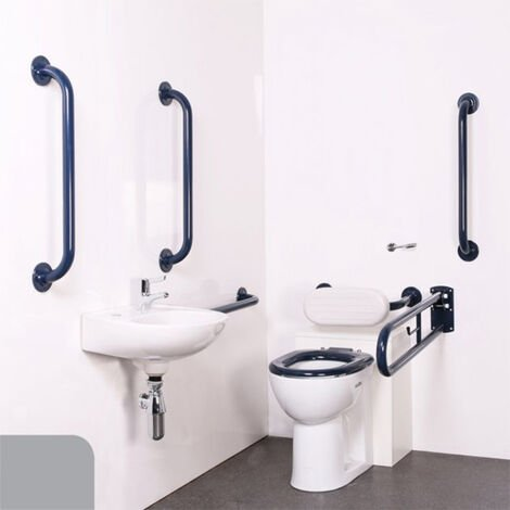 Nymas Nyma PRO Back to Wall Doc M Pack Exposed Fixings White - 5 x Grey Grab Rails
