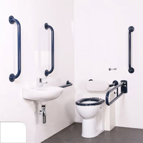 Nymas Nyma PRO Back to Wall Doc M Pack Exposed Fixings White - 5 x White Grab Rails