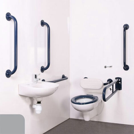 Nymas Nyma PRO Wall Hung Doc M Pack Concealed Fixings White - 5 x Grey Grab Rails