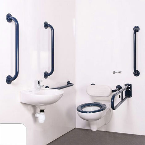 Nymas Nyma PRO Wall Hung Doc M Pack Concealed Fixings White - 5 x White Grab Rails