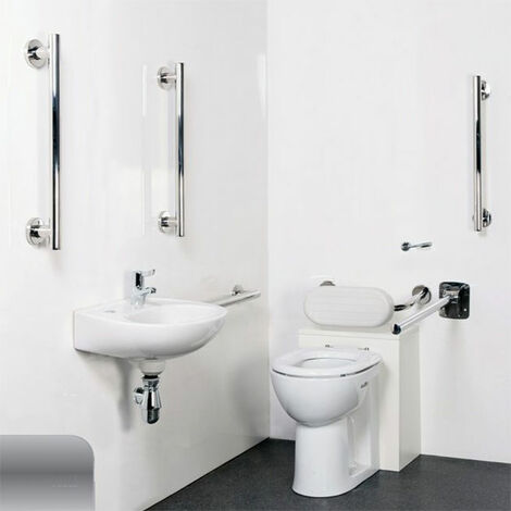 Nymas Nyma Style Luxury Back to Wall Doc M Pack White - 5 x Satin Grab Rails
