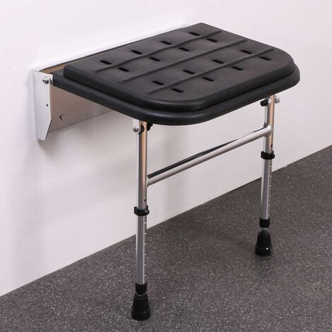 Nymas Premium Wall Mounted Padded Shower Seat with Legs - Black