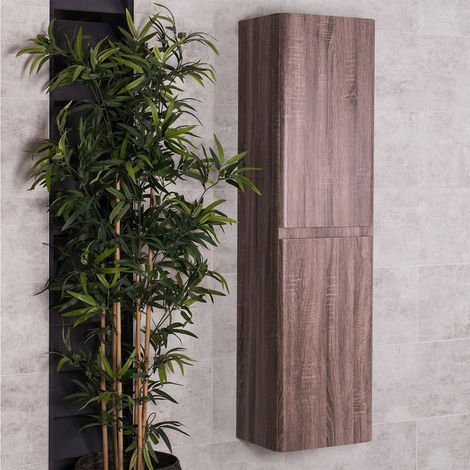 Oak 1500mm Wall Hung Tall Bathroom Cupboard Storage Unit Furniture