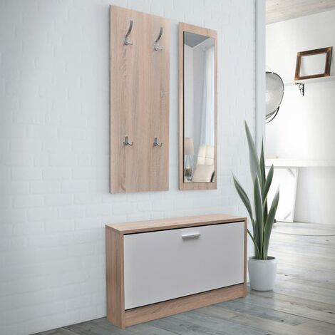 Oak and White 3-in-1 Wooden Shoe Cabinet Set - Brown