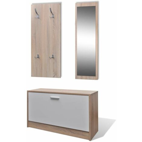 Oak and White 3-in-1 Wooden Shoe Cabinet Set QAH08634
