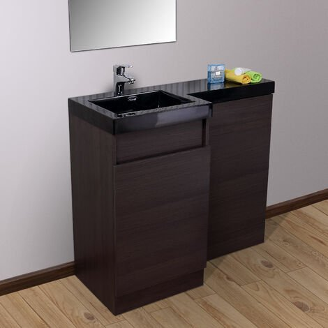 Oak Bathroom Black Basin Vanity Unit & Toilet Unit 1000 Left Hand