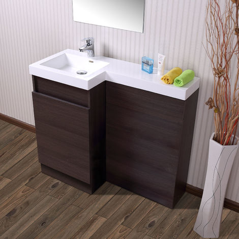 Oak Bathroom White Basin Vanity Unit & Toilet Unit 1000 Left Hand