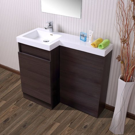 Oak Bathroom White Basin Vanity Unit & Toilet Unit 1000 Left Hand