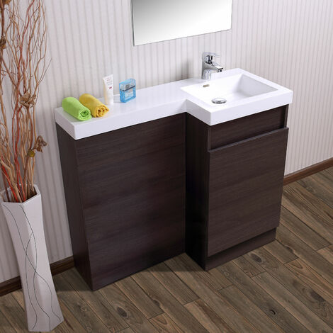 Oak Bathroom White Basin Vanity Unit & Toilet Unit 1000 Right Hand