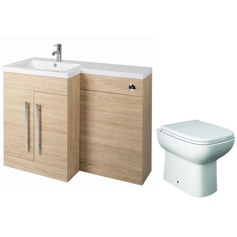 Oak Left Hand Combination Vanity Unit basin Set & Toilet + Seat + Cistern