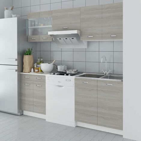 Oak Look Kitchen Cabinet Unit 5 pcs 200 cm