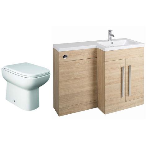 Oak Right Hand Combination Vanity Unit basin Set & Toilet + Seat + Cistern