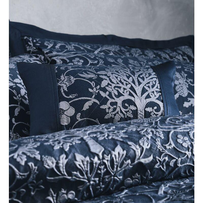 Image of Oak Tree Jacquard Filled Boudoir Cushion Midnight Blue - BEDMAKER