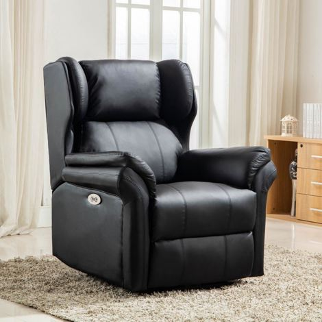 OAKFORD ELECTRIC BONDED LEATHER  AUTO RECLINER WING BACK LOUNGE CHAIR WITH USB - different colors available