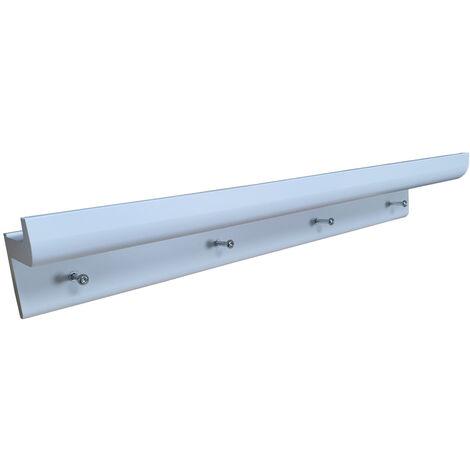 OAKLEY - Wall Mounted 2ft / 60cm Organiser Floating Shelf with 4 Key / Coat Hooks - White