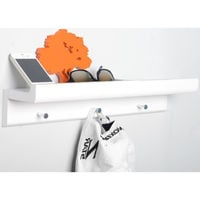 OAKLEY - Wall Mounted 45cm Organiser Floating Shelf with 3 Key / Coat Hooks - White